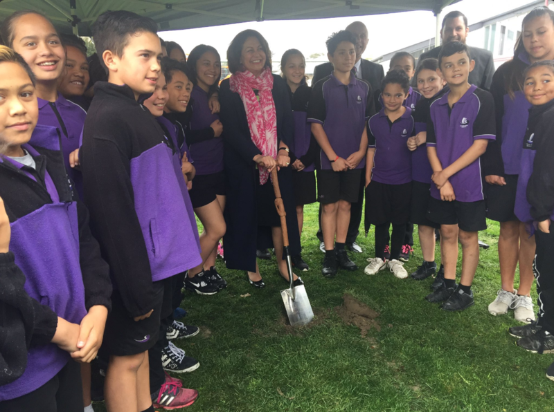Minister Hekia Parata turns the first sod to mark Stage 2 of our rebuild.